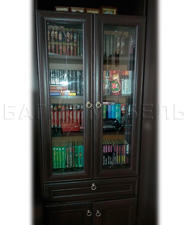 Купить книжный шкаф со стеклянными дверцами и ящиком инна 61.